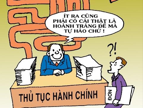 Thủ tục hành chính - Tranh của họa sĩ Tín Nhượng