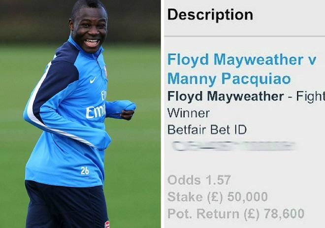 Cựu sao Arsenal kiếm bộn tiền vì đặt cược vào Floyd Mayweather