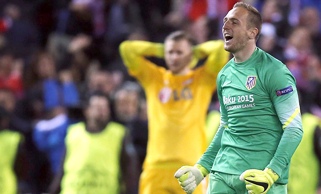 23h15 ngày 23/4, Atletico - Malaga (lượt đi: 0-1): Jan Oblak đã qua mặt Courtois