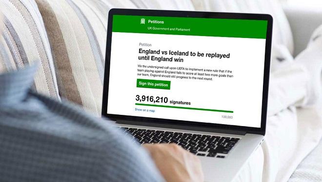 3,9 triệu chữ kí yêu cầu đá lại trận Anh – Iceland