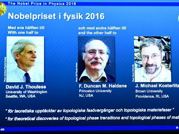 Giải Nobel Vật lý 2016 đã thuộc về 3 nhà khoa học gốc Anh