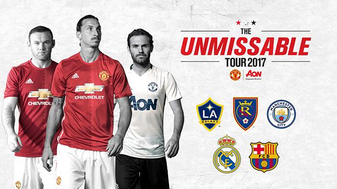 Man United sẽ đối đầu Man City, Real Madrid và Barca trong mùa Hè