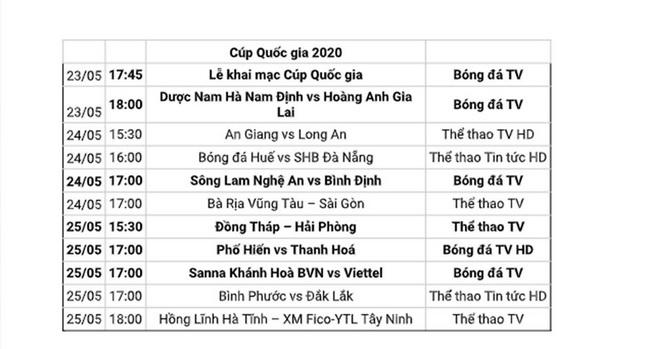 Lịch thi đấu bóng đá hôm nay.Lịch thi đấu vòng loại cúp Quốc gia 2020. Lịch thi đấu cúp Quốc gia Bamboo Airway 2020. Trực tiếp bóng đá.Trực tiếp Nam Định vs HAGL.