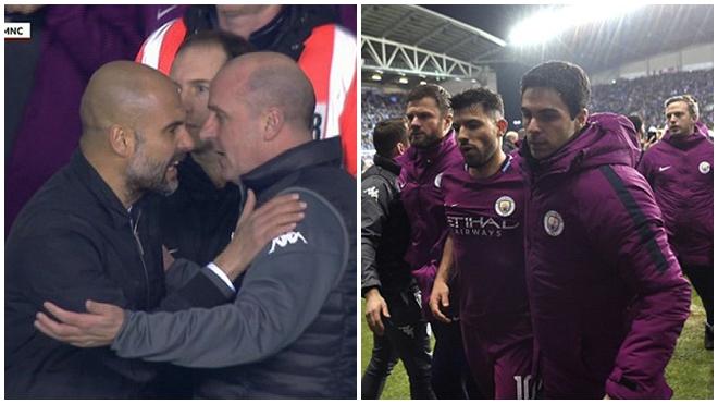 Thua Wigan, Pep Guardiola và Aguero xô xát với đối thủ
