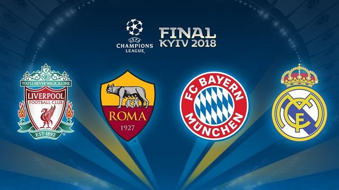 Bán kết Champions League: Real tái đấu Bayern. Roma đụng Liverpool