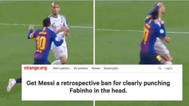 CĐV Liverpool muốn Messi bị trừng phạt vì đấm Fabinho, fan Barca cũng đòi treo giò Mane vì tát Vidal