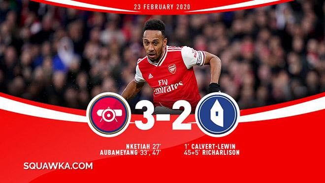 Arsenal 3-2 Everton: Aubameyang lập cú đúp, 'Pháo thủ' thắng kịch tính trên sân nhà