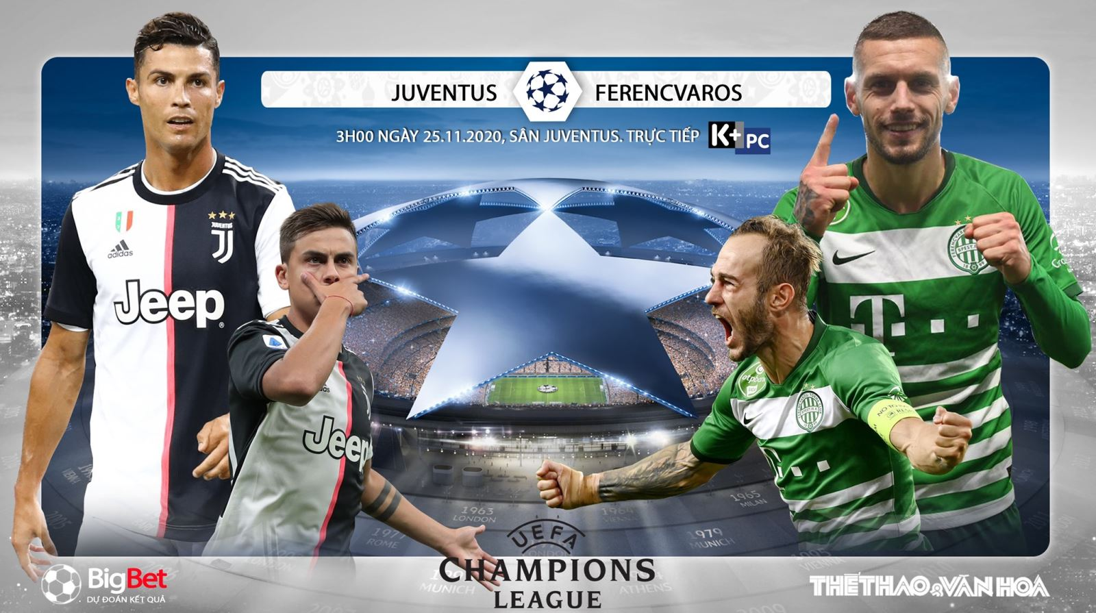 Soi kèonhà cái Juventus vs Ferencvaros. Vòng bảng Champions League. Trực tiếp K+PC