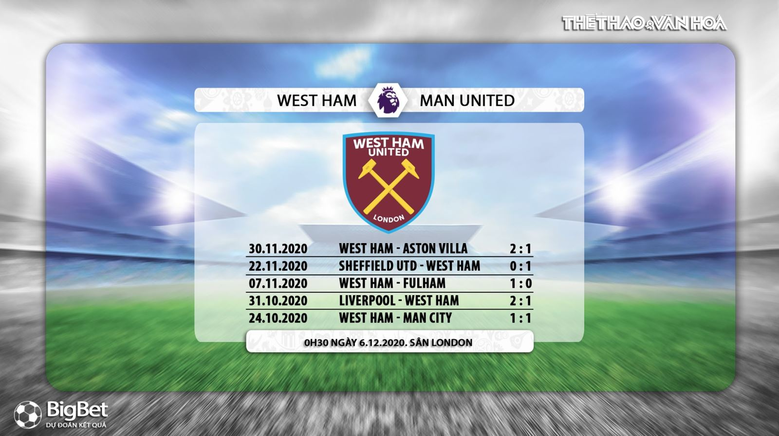 Trực tiếp West Ham vs MU. Truc tiep bong da. Link trực tiếp Ngoại hạng Anh