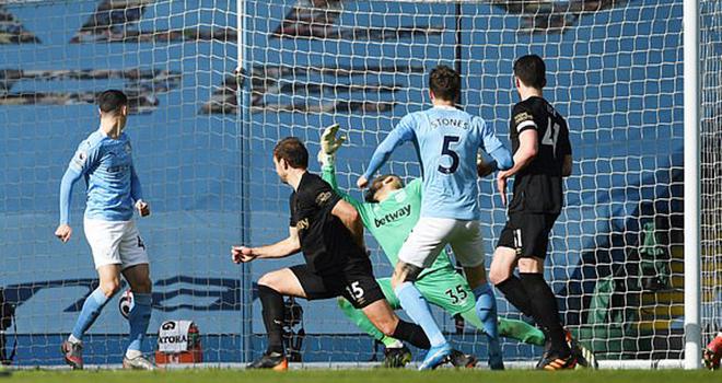 Man City 2-1 West Ham, ket qua bong da, Kết quả bóng đá Anh, Bảng xếp hạng Ngoại hạng Anh vòng 26, kết quả Man City đấu với West Ham, bảng xếp hạng bóng đá Anh