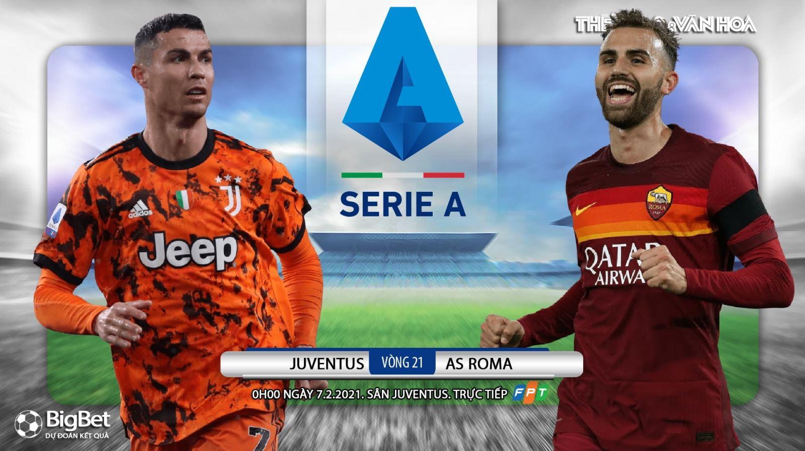 Soi kèo nhà cáiJuventus vs AS Roma. FPT trực tiếp bóng đá Italia Serie A vòng 21
