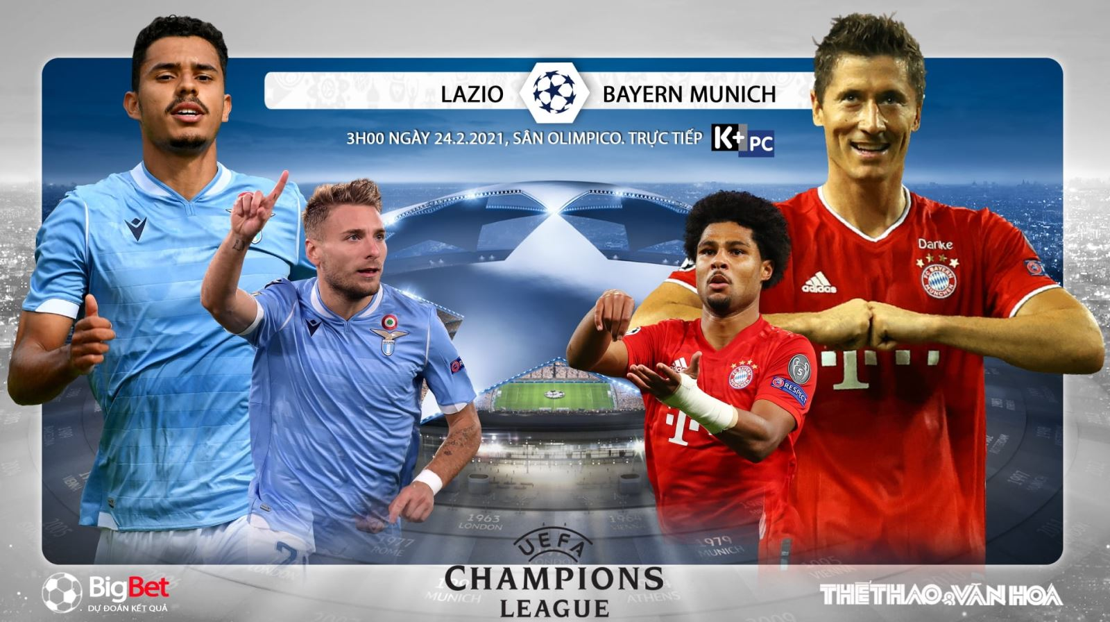 Soi kèo nhà cáiLazio vs Bayern Munich. Lượt đi vòng 1/8 Cúp C1 châu Âu