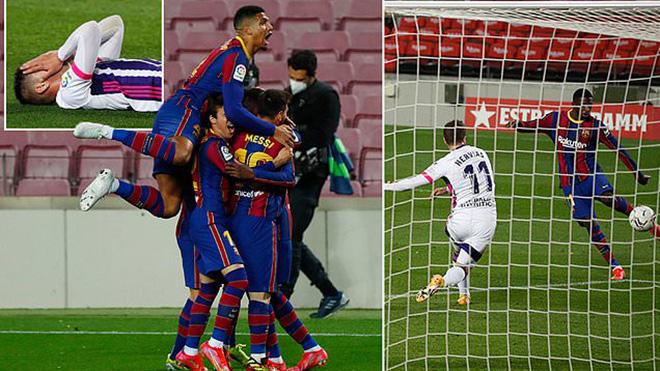 Barcelona 1-0 Valladolid: Dembele ghi bàn phút cuối, Barca chỉ còn kém ngôi đầu 1 điểm
