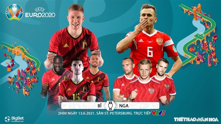 Soi kèo Bỉ vs Nga. Kèo nhà cái EURO 2021. Trực tiếp bóng đá VTV3, VTV6