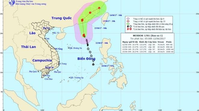 Bão số 1 sẽ suy yếu thành áp thấp nhiệt đới
