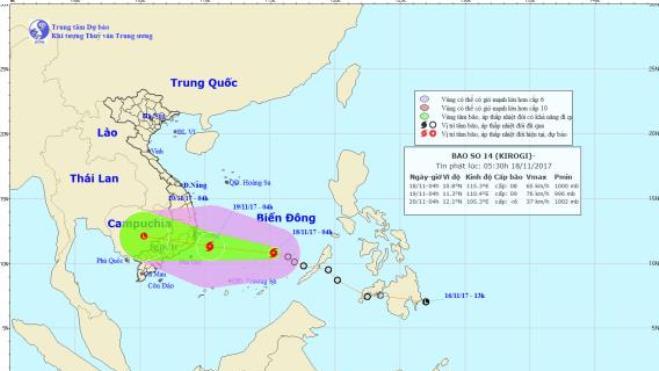 Cập nhật cơn bão số 14: Bão giật cấp 11 đang tiến vào Biển Đông