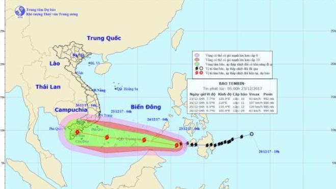 Ngày 25/12, bão số 16 sẽ đi vào đất liền, gió giật cấp 12-13