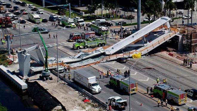 Sập cầu vượt đi bộ ở bang Florida, nhiều người thiệt mạng
