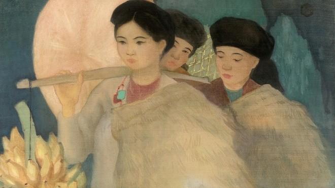 Đấu giá bức tranh lụa đáng sưu tập 'Thôn nữ Bắc kỳ' của họa sĩ Nam Sơn