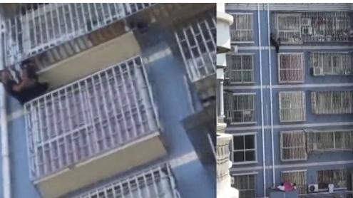 VIDEO: Giải cứu cậu bé bị kẹp đầu, treo lơ lửng ngoài ban công