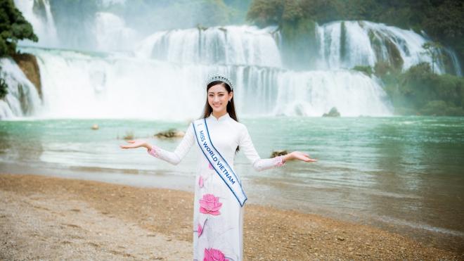Hoa hậu Lương Thuỳ Linh chụp bộ ảnh giới thiệu vẻ đẹp Cao Bằng