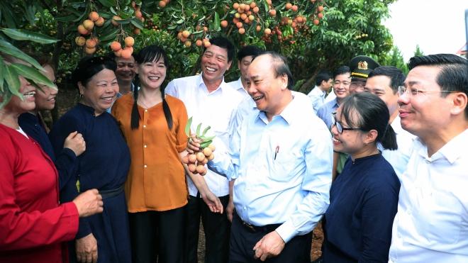Thủ tướng Nguyễn Xuân Phúc thăm 'Vườn quả Bác Hồ' ở Bắc Giang