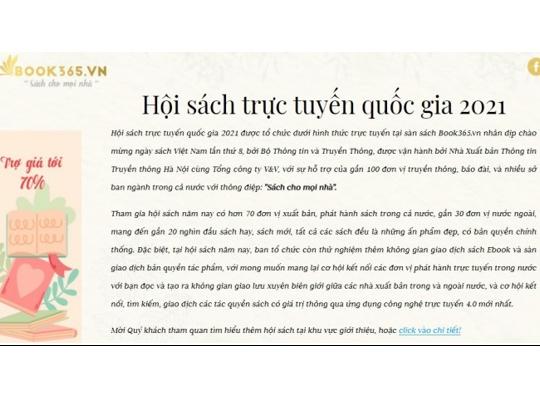Ngày sách Việt Nam 21/4: Khai mạc Hội sách trực tuyến quốc gia lần thứ 2