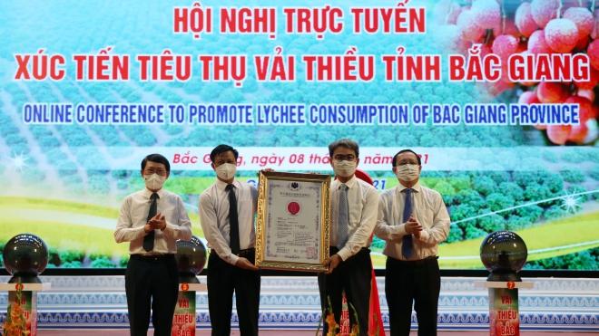 Bắc Giang: Hội nghị trực tuyến tiêu thụ vải thiều với 30 điểm cầu trong nước và quốc tế