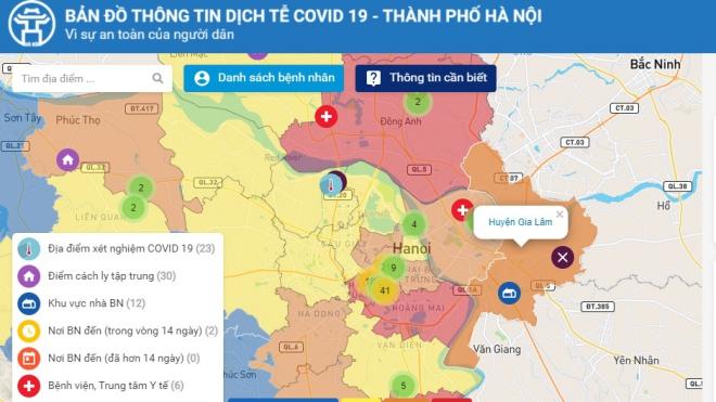 Hà Nội: Người dân có thể tự tra thông tin dịch tễ trên bản đồ Covid-19