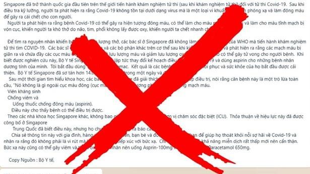 Bộ Y tế bác bỏ thông tin sai sự thật liên quan đến Covid-19