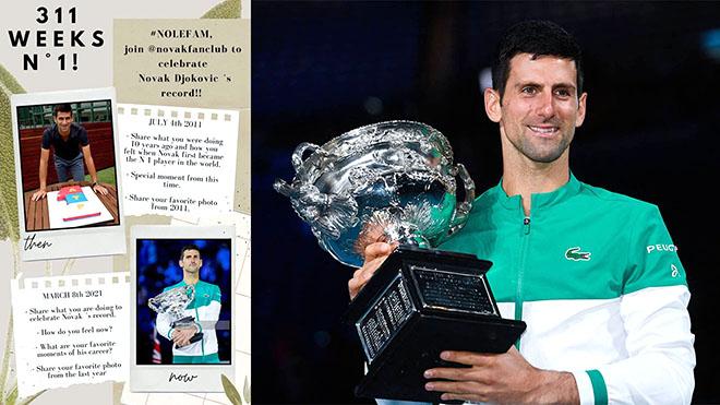 Djokovic lập kỷ lục 311 tuần trên ngôi số 1 ATP: Cristiano Ronaldo của quần vợt