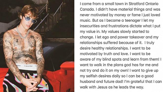 Justin Bieber hối lỗi trước những 'sai lầm của tuổi trẻ'