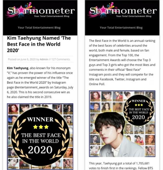 BTS, V BTS, V BTS Gương mặt đẹp nhất thế giới, Starmometer, STAR 101, Top10World