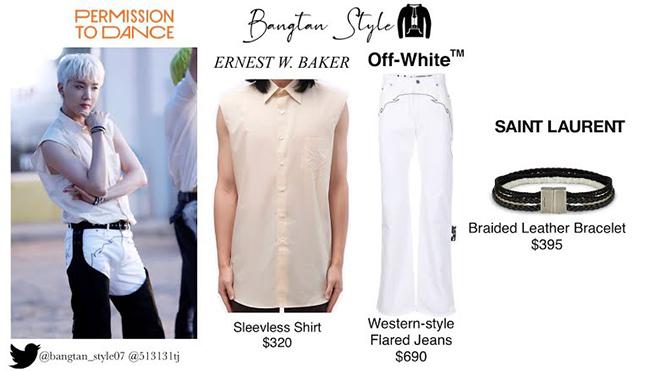 Trong video, RM diện combo Ralph Lauren với áo sơ mi denim trị giá 319 USD và quần jean 495 USD.