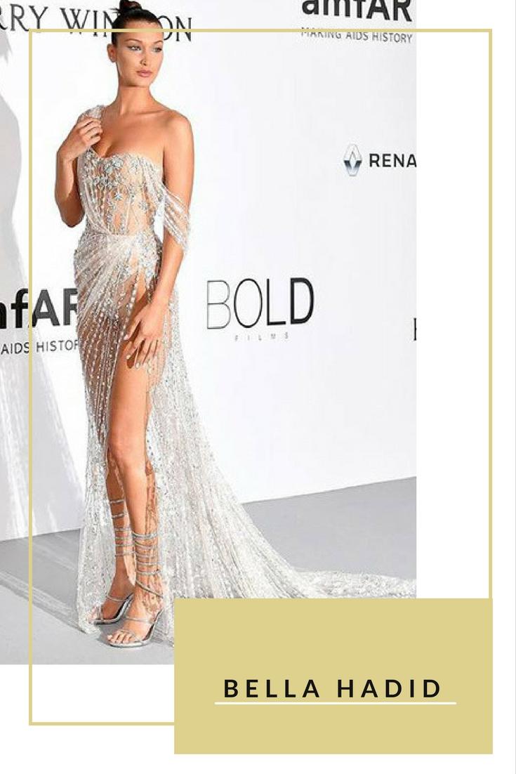 """Siêu mẫu 20 tuổi người Mỹ - Bella Hadid - """"đánh cắp"""" thảm đỏ Liên hoan phim Cannes lần thứ 70 trong thiết kế xuyên thấu của hãng Ralph & Russo"""