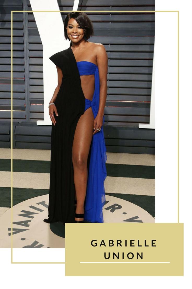 Bộ đầm couture thương hiệu Jean Paul Gaultier của nữ diễn viên Gabrielle Union tại tiệcOscar được cho là sự kết hợp của đầm dạ tiệc và đồ bơi
