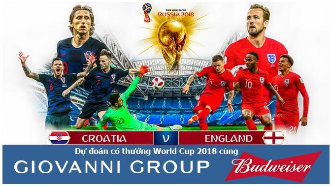 Dự đoán có thưởng World Cup 2018: Trận Croatia - Anh (Vòng bán kết)