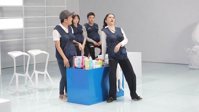 Tập 9 'khi đàn ông mang bầu': Hương Giang 'đẻ rớt' tại siêu thị, Trường Giang ngất xỉu