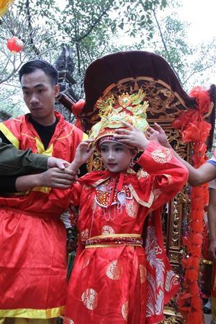 Trong ảnh: Nghi thức rước vị nữ tướng tại Lễ hội đền Sóc năm 2019. Ảnh: Quang Quyết-TTXVN