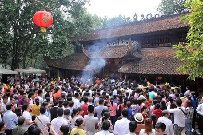 Trong ảnh: Quang cảnh Lễ khai hội đền Sóc năm 2019. Ảnh: Quang Quyết-TTXVN