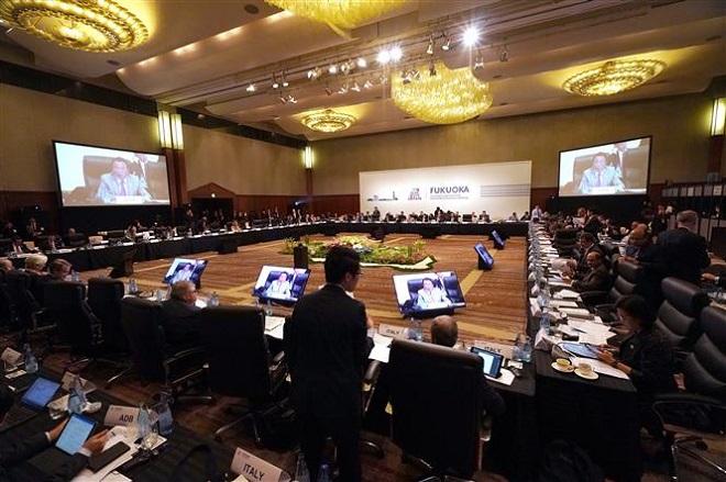 Trong ảnh: Các đại biểu tham dự Hội nghị Bộ trưởng Tài chính và Thống đốc Ngân hàng Trung ương Nhóm Các nền kinh tế phát triển và mới nổi hàng đầu thế giới (G20) ở thành phố Fukuoka, Nhật Bản ngày 8/6/2019. Ảnh: AFP/TTXVN