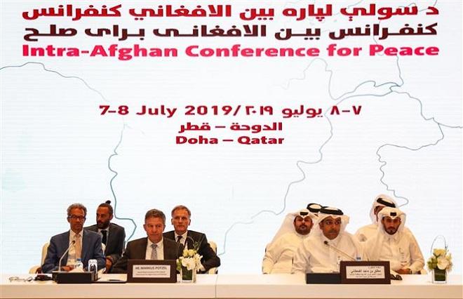Trong ảnh: Các đại biểu tại vòng đàm phán hòa bình Afghanistan ở Doha, Qatar, ngày 7/7/2019. Ảnh: AFP/ TTXVN