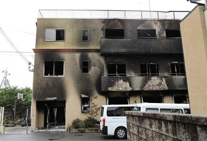 Trong ảnh: Xưởng phim Kyoto Animation ở Kyoto, Nhật Bản sau vụ hỏa hoạn, ngày 19/7/2019. Ảnh: THX/TTXVN