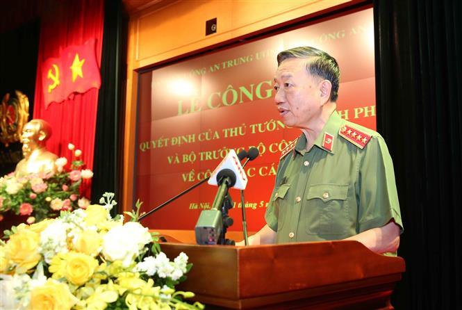 Trong ảnh: Đại tướng Tô Lâm, Ủy viên Bộ Chính trị, Bí thư Đảng ủy Công an Trung ương, Bộ trưởng Bộ Công an phát biểu. Ảnh: Doãn Tấn - TTXVN