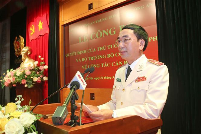 Trong ảnh: Tân Thứ trưởng Bộ Công an Trần Quốc Tỏ phát biểu. Ảnh: Doãn Tấn - TTXVN
