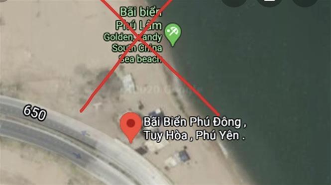 Trong ảnh: Google Maps hiển thị thông tin sai sự thật về bãi biển Phú Lâm, thành phố Tuy Hòa tỉnh Phú Yên. Ảnh: TTXVN phát