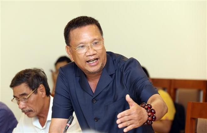 Trong ảnh: Ông Hoàng Đức Thảo, Chủ tịch, Tổng Giám đốc Công ty Cổ phần Khoa học công nghệ Việt Nam (đơn vị thi công) phát biểu tại cuộc họp Đánh giá nghiên cứu. Ảnh: Anh Tuấn – TTXVN