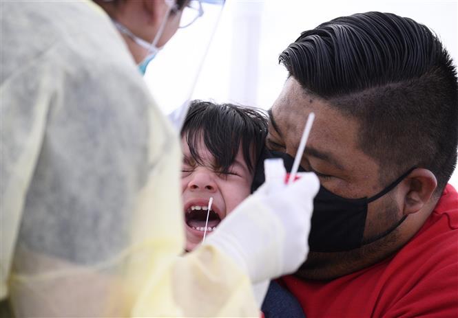 Trong ảnh: Một trẻ nhỏ được lấy mẫu xét nghiệm COVID-19 ở Compton, California, Mỹ ngày 28/4/2020. Ảnh: AFP/TTXVN