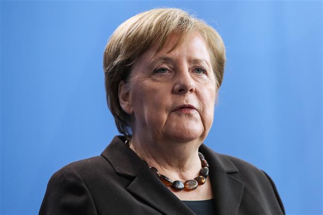 Trong ảnh: Thủ tướng Đức Angela Merkel tại cuộc họp báo ở Berlin ngày 19/2/2020. Ảnh: THX/TTXVN