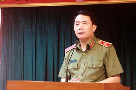Thiếu tướng Lê Quốc Hùng, Thứ trưởng Bộ Công an phát biểu tại buổi lễ.